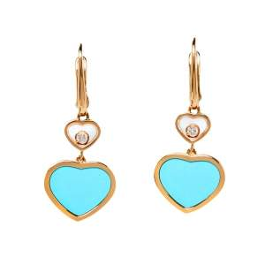 Chopard Happy Hearts Diamond Turquoise 18K Rose Gold Drop Earrings
