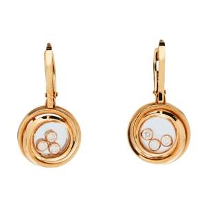 Chopard Happy Emotions Diamond 18K Rose Gold Drop Earrings