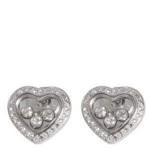 Chopard 18K White Gold Happy 0.70 CTW Diamonds Icons Heart Earrings