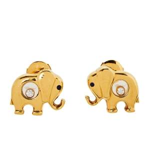 Chopard Happy Diamonds Elephant Motif Sapphire Diamond 18K Yellow Gold  Stud Earrings
