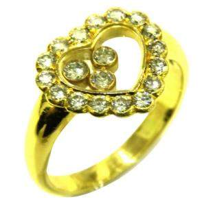 Chopard 18K Yellow Gold Happy Diamonds Icons Ring Size EU 53