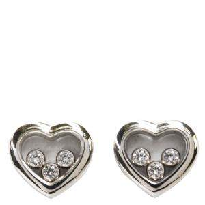 Chopard 18K White Gold Happy Diamonds Icons Heart Earrings