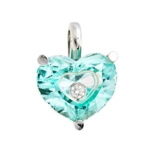 Chopard So Happy Diamond Green Stone 18K White Gold Heart Pendant