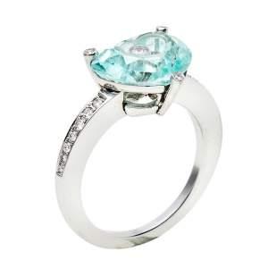 Chopard So Happy Diamond Green Stone 18K White Gold Ring Size 54.5