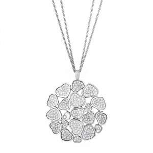 Chopard Happy Hearts Diamond 18K White Gold Cocktail Pendant Necklace