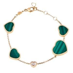 Chopard Happy Hearts 18K Rose Gold Malachite & Diamond Bracelet