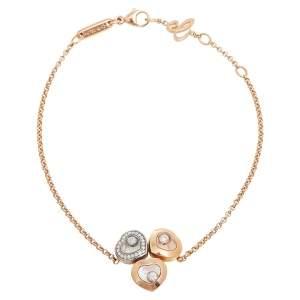Chopard Happy Diamond Heart Motif 18K Three Tone Gold Bracelet