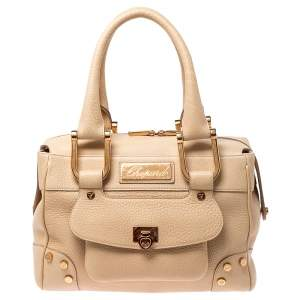 Chopard Beige Leather Caroline Happy Diamond Satchel