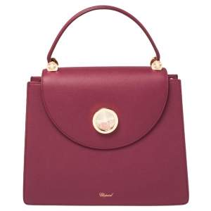 Chopard Dark Pink Leather Happy Lady Top Handle Bag