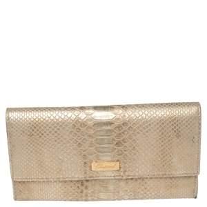 محفظة شوبارد كونتيننتال جلد نقش ثعبان ذهبي ميتالك