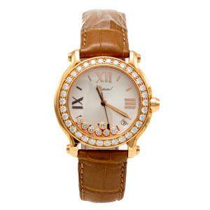 Chopard Mother Of Pearl Dial Happy Sport Rose Gold Diamond Women's Watch 36MM