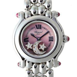 Chopard MOP Pink Stainless Steel Diamond Happy Sport Star & Moon 27 8250-21 Women's Wristwatch 25MM