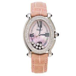 Chopard Pink Mother of Pearl Stainless Steel Leather Diamonds Happy Sport 27/8418-23 Women's Wristwatch 29 mm