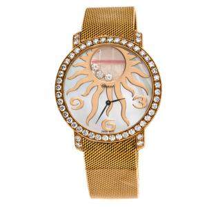 Chopard Mother Of Pearl Sun Motif 18K Rose Gold Happy Diamonds 4176 Women's Wristwatch 40 mm