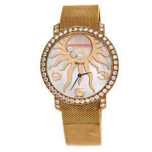 ساعة يد نسائية شوبارد هابي دايمونتس 4176 ذهب وردي عيار 18 حلية شمس صدف 40مم