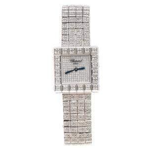 ساعة يد نسائية شوبارد باي دي غريسوغونو ذهب أبيض عيار 18 آيس كيوب 25 مم