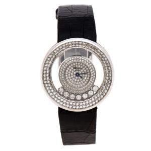 Chopard Diamond Pave 18k White Gold Happy Diamonds 20/6934 Women's Wristwatch 31MM