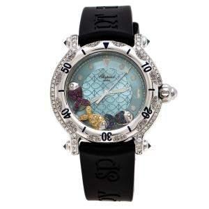 Chopard Blue Fish Motif Stainless Steel Diamonds Happy Sport 8347 Women's Wristwatch 38 mm