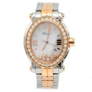Chopard White Mother Of Pearl Happy Sport Oval Steel & Rose Gold Diamond Women's Wristwatch 33 MM