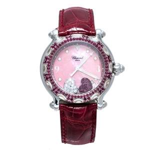 Chopard Pink Mother Of Pearl Stainless Steel Pink Ruby Diamond Happy Sport 28/8944-21 Women's Wristwatch 38 mm