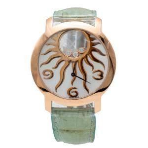 Chopard Mother of Pearl Happy Diamond Sun Rose Gold Women's Wristwatch 40MM