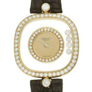 Chopard Champagne Diamonds 18K Yellow Gold Happy Diamonds 4959 Women's Wristwatch 25 MM