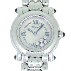 Chopard MOP Stainless Steel Diamonds Happy Sport 8250-23 Women's Wristwatch 26 MM