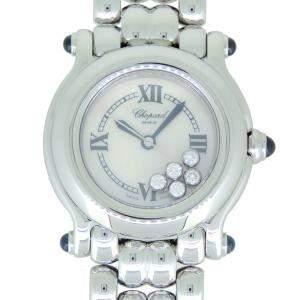 Chopard MOP Stainless Steel Diamonds Happy Sport 8250-23 Women's Wristwatch 26 MM