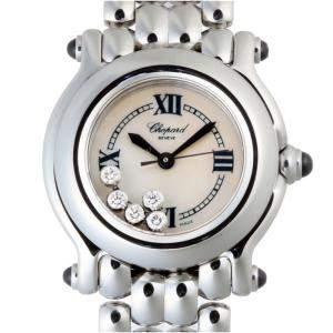 Chopard MOP Diamonds Stainless Steel Happy Sport 8250-23 Women's Wristwatch 26 MM