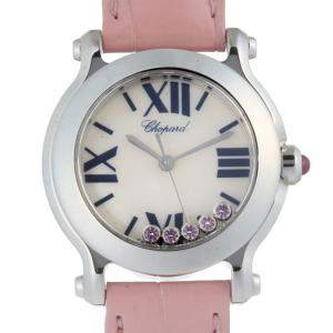 Chopard MOP Pink Sapphire Stainless Steel Happy Sport Mini 278509-3013 Women's Wristwatch 30 MM