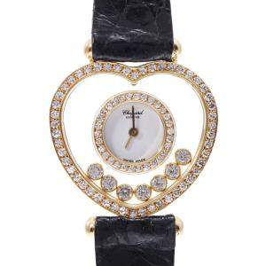 Chopard White Diamonds 18K Yellow Gold Happy Diamond Heart Quartz Women's Wristwatch 25 MM