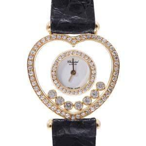 Chopard White Diamonds 18K Yellow Gold Happy Diamond Heart Quartz Women's Wristwatch 25 MM