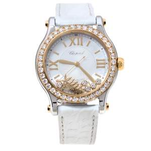Chopard Mother Of Pearl 18K Yellow Gold Stainless Steel Leather Diamond Limited Edition Happy Palm 8578 Women's Wristwatch 36 mm
