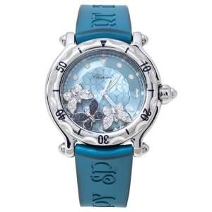 Chopard Blue Stainless Steel and Rubber Happy Sport 28/8452 8347 Women's Wristwatch 38 mm
