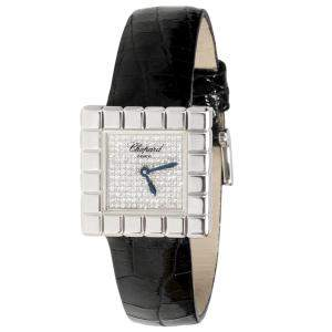 ساعة يد نسائية شوبارد ايس كيوب 127407/1003  ذهب أبيض 18 و ألماس فضية 25 ملم