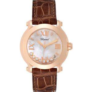 Chopard Silver Diamonds 18K Rose Gold Happy Sport 7471 Women's Wristwatch 36 MM
