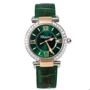 Chopard Green 18K Rose Gold and Stainless Steel Diamond Imperiale 8532 Women's Wristwatch 36 mm