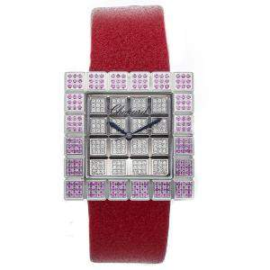 Chopard Silver Diamonds And Pink Sapphire 18K White Gold Ice Cube 13/6858/8-42 Women's Wristwatch 32 MM