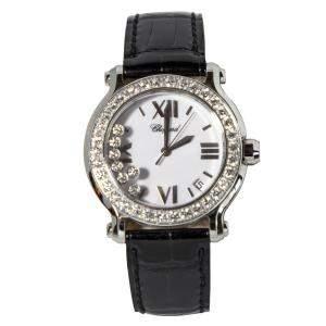 """ساعة يد نسائية شوبارد """"هابي سبورت 27/8476-20"""" ستانلس ستيل و ألماس و جلد تمساح بيضاء 36 مم"""