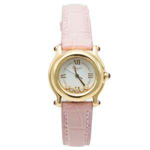 Chopard Silver Diamond Dial Happy Sport Yellow Gold Women's Watch 26 MM