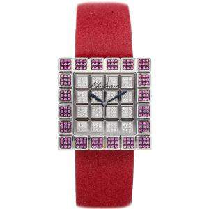 Chopard Silver 18K White Gold And Sapphire Ice Cube 13/6858/8-42 Women's Wristwatch 32 MM