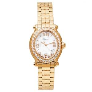 Chopard MOP 18K Yellow Gold Diamonds Happy Sport 5350 Women's Wristwatch 30 mm