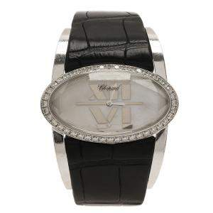 Chopard Mother of Pearl 18k White Gold Alligator Leather Diamond Happy Oval 139018 Women's Wristwatch 42 mm
