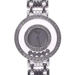 Chopard Silver Diamonds 18K White Gold Happy Diamonds 4199 Quartz Women's Wristwatch 23 MM