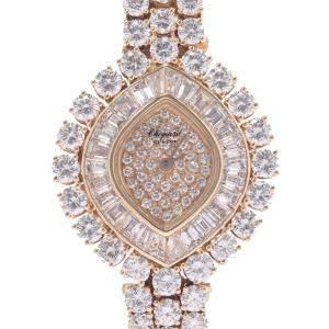 Chopard Silver Diamonds 18K Yellow Gold 10/5741-1 Vintage Women's Wristwatch 25 MM