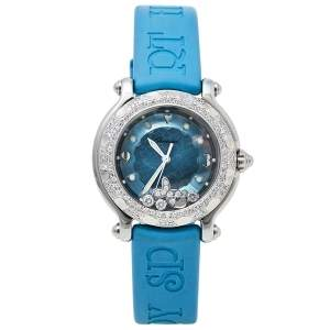 Chopard Blue Diamonds Stainless Steel Rubber Happy Sport 27/8921 Quartz Women's Wristwatch 32MM