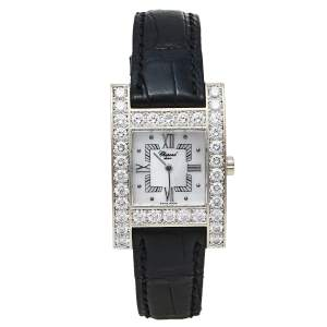 Chopard Mother Of Pearl 18K White Gold H Diamond 13/6621 Women's Wristwatch 24 mm
