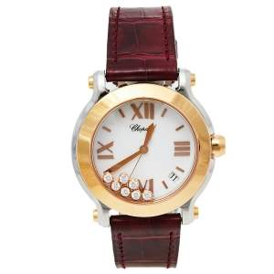 Chopard White 18K Rose Gold & Stainless Steel Diamonds Happy Sport 8475 Women's Wristwatch 36 mm