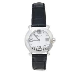 Chopard White Stainless Steel Diamonds Happy Sport 278475-3001 Women's Wristwatch 36 mm