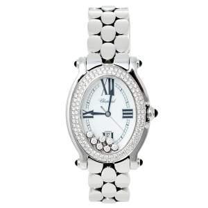 Chopard White Stainless Steel Diamonds Happy Sport 278418-3002 Women's Wristwatch 30 mm
